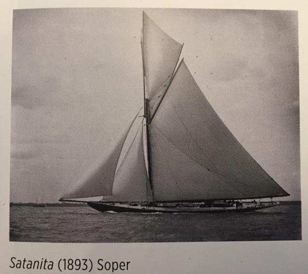 "Image of Big Class racing cutter ""Satanita"" under full sail"