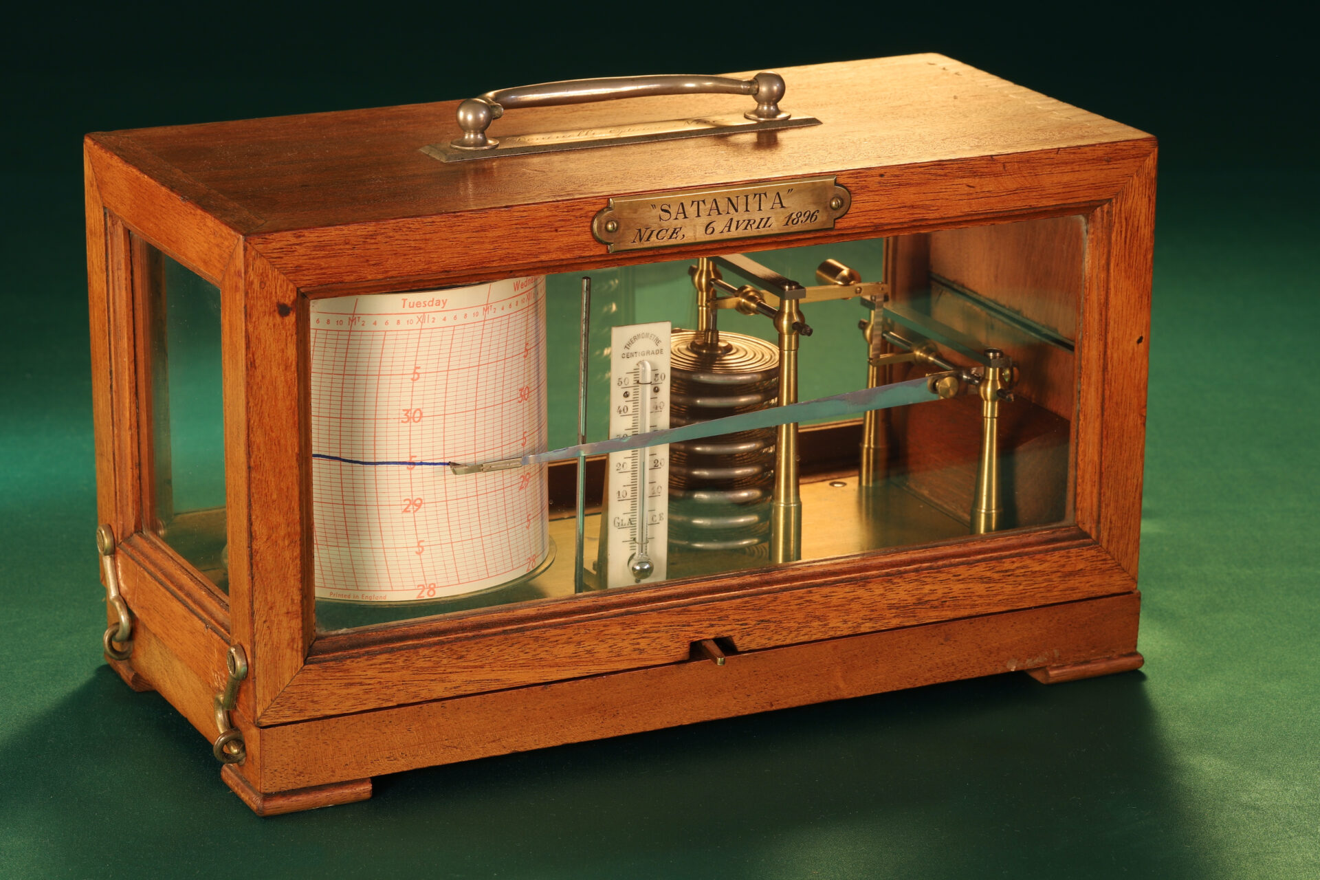 """Image of Richard Frères Drum Barograph No 19110 awarded to """"Satanita"""" 1896 with lid closed taken from lefthand side"""