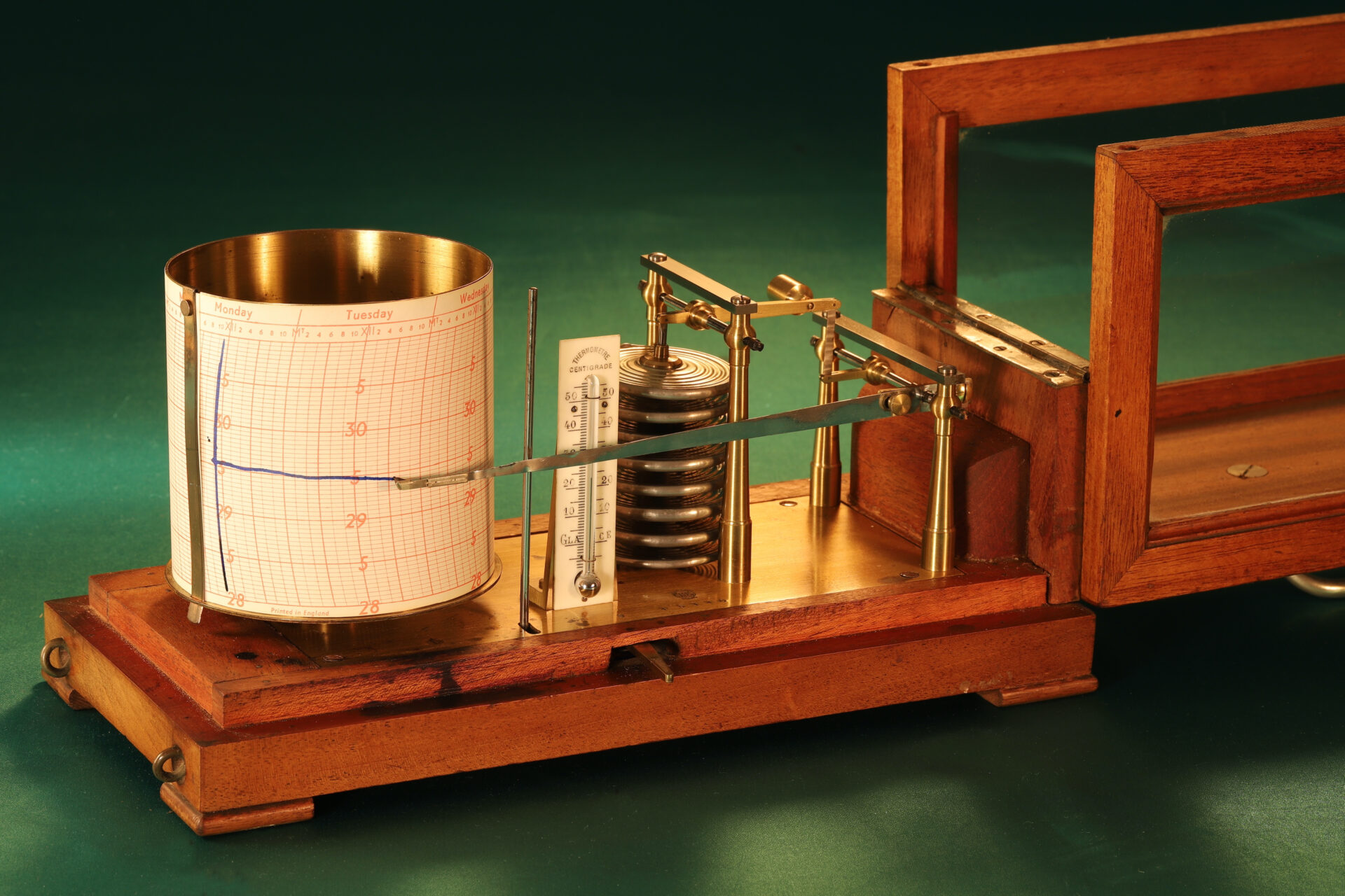 """Closer image of Richard Frères Drum Barograph No 19110 awarded to """"Satanita"""" 1896 with lid open"""