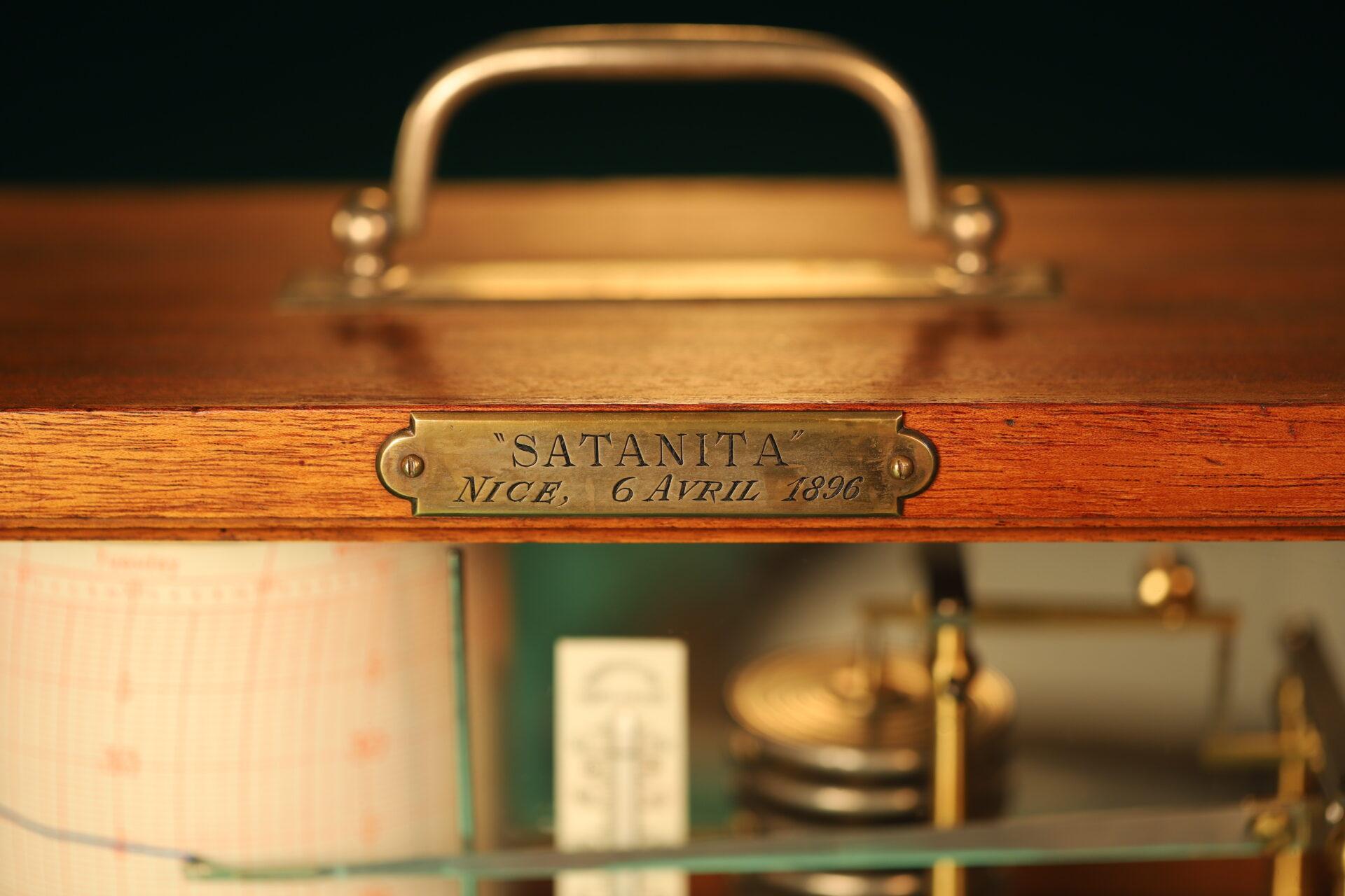 "Close up of presentation plaque on Richard Frères Drum Barograph No 19110 awarded to ""Satanita"" 1896"