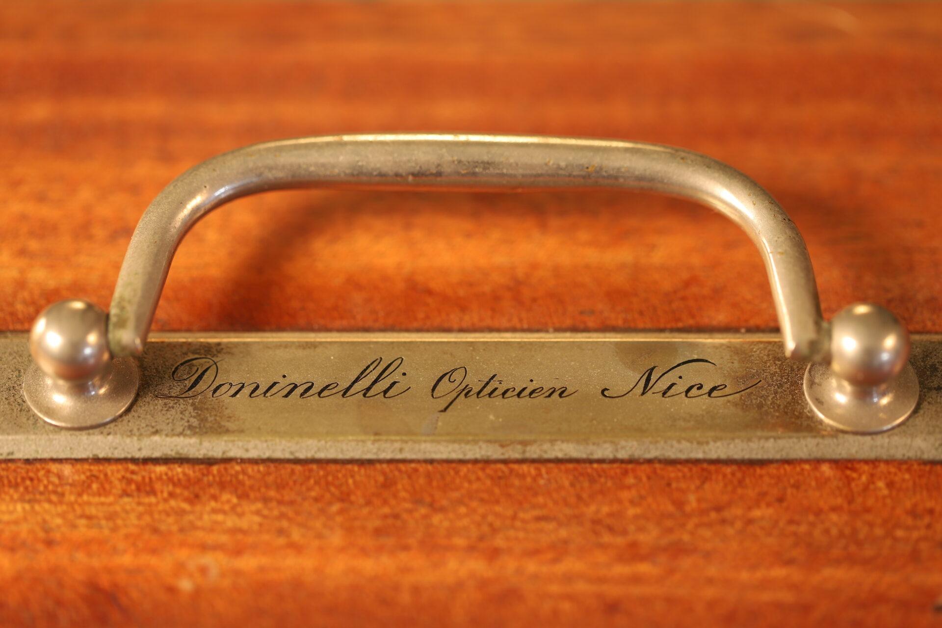"Close up of retailer's details on Richard Frères Drum Barograph No 19110 awarded to ""Satanita"" 1896"