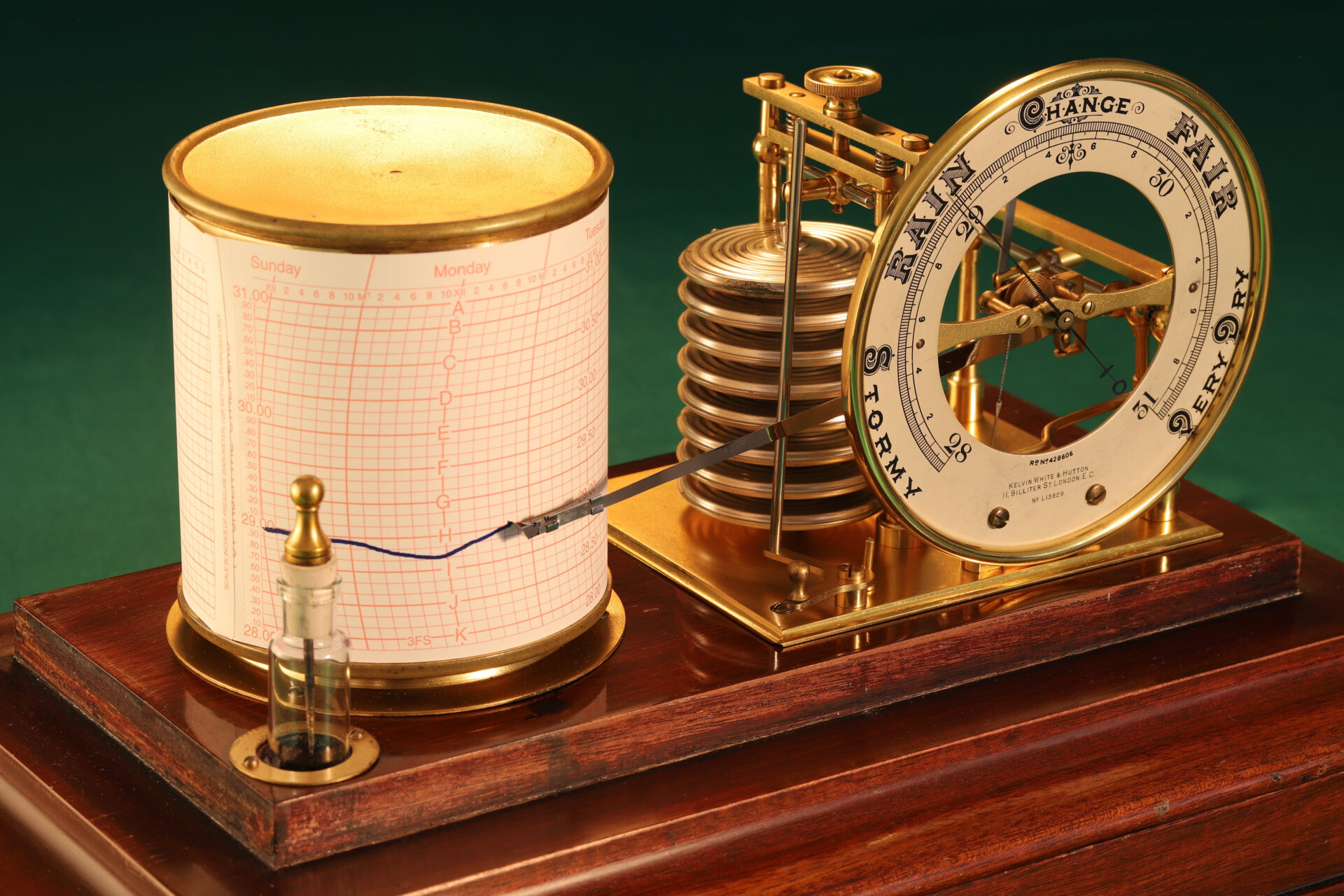 Close up of Short & Mason Barograph No L13629 c1930 taken from lefthand side with lid removed