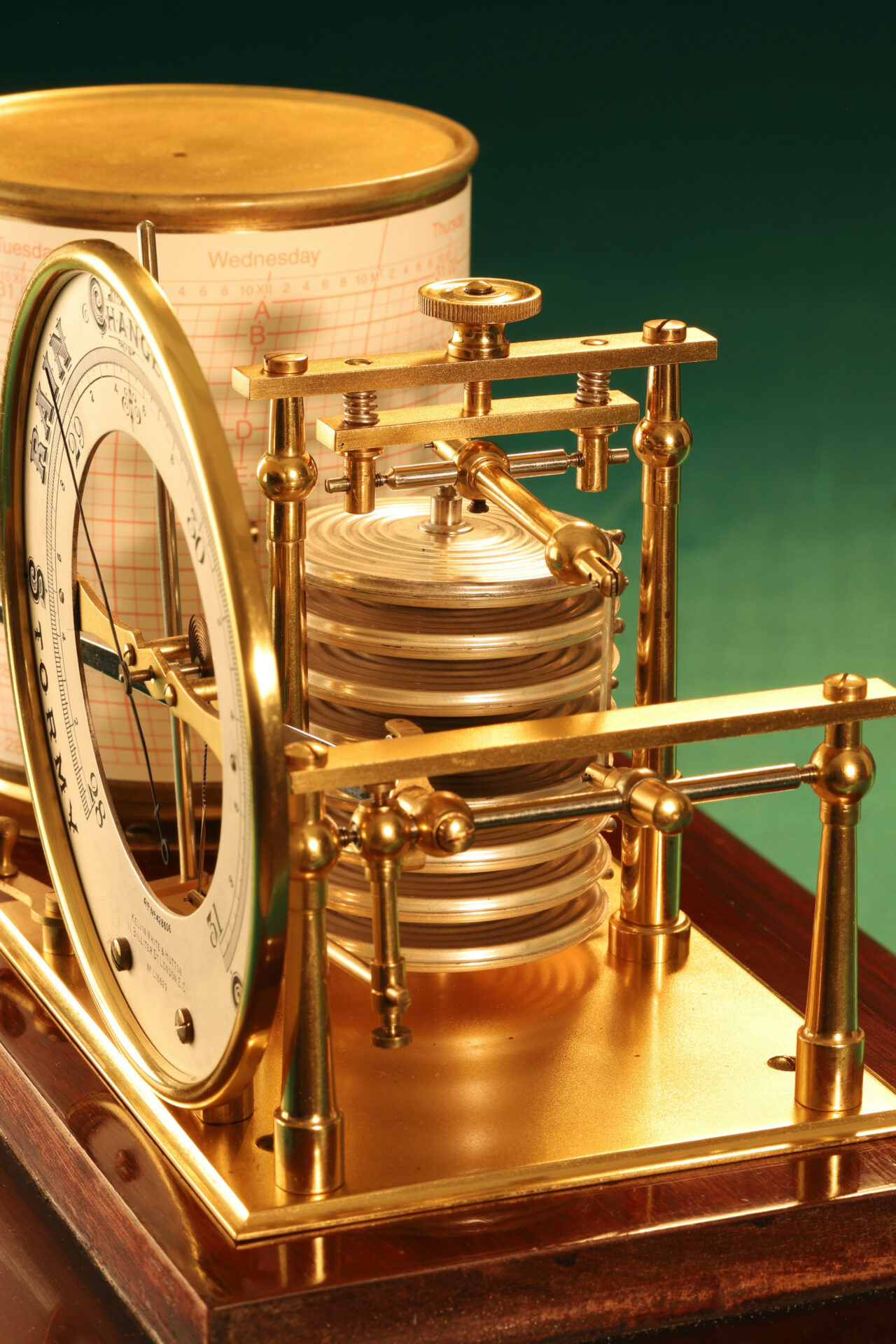Close up of movement from Short & Mason Barograph No L13629 c1930 taken from righthand side