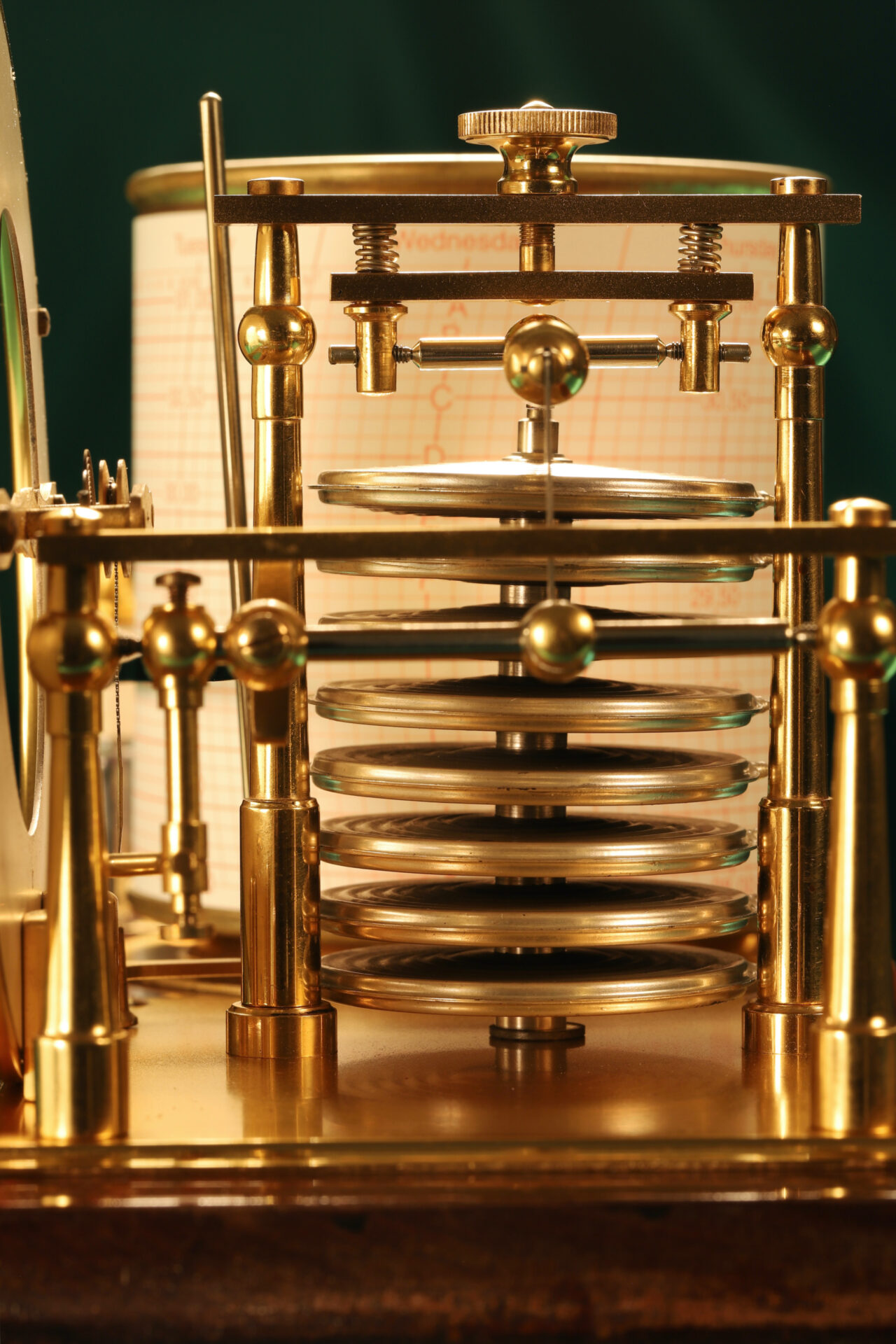 Close up of Short & Mason Barograph No L13629 c1930 taken from righthand end