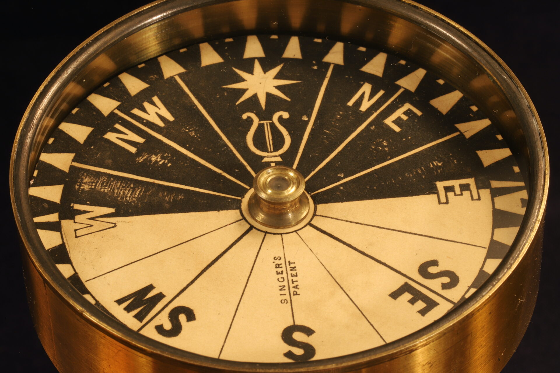 Close up of Explorers Singers Patent Compass c1870