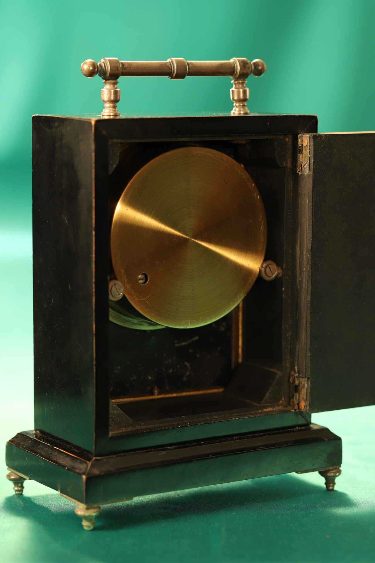 Image of reverse of Ebonised Recording Aneroid Barometer or Barograph c1878 with access door open taken from lefthand side