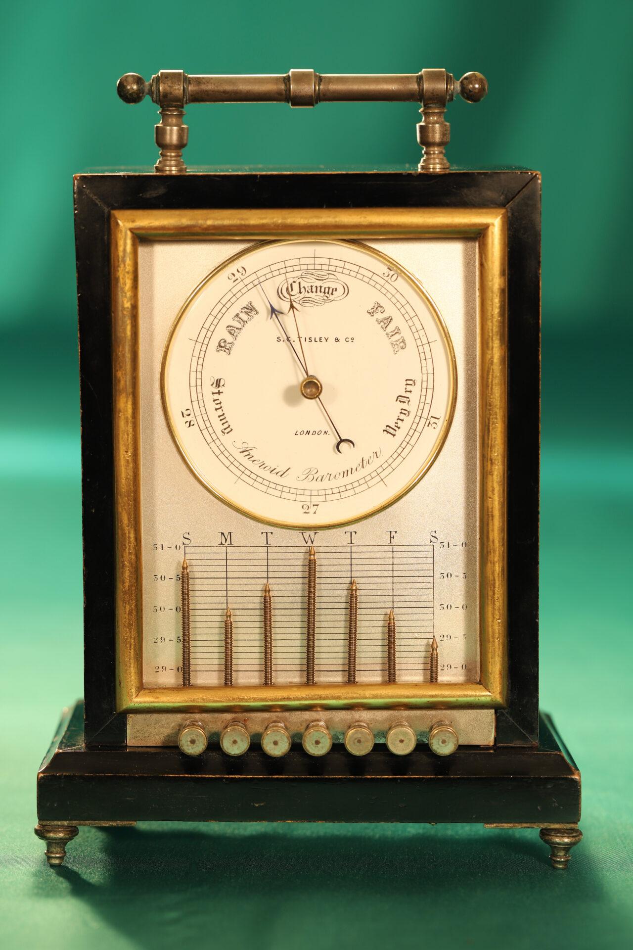 Image of Ebonised Recording Aneroid Barometer or Barograph c1878 c1860