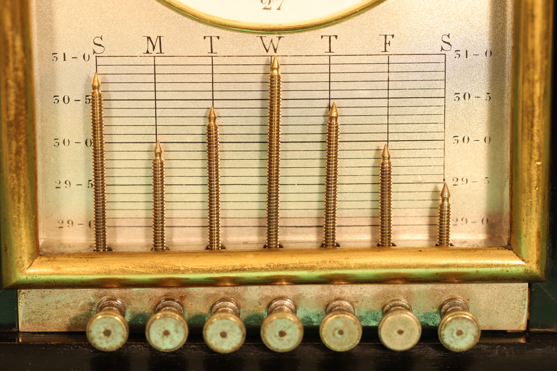 Close up of Ebonised Recording Aneroid Barometer or Barograph c1878 showing recording mechanism