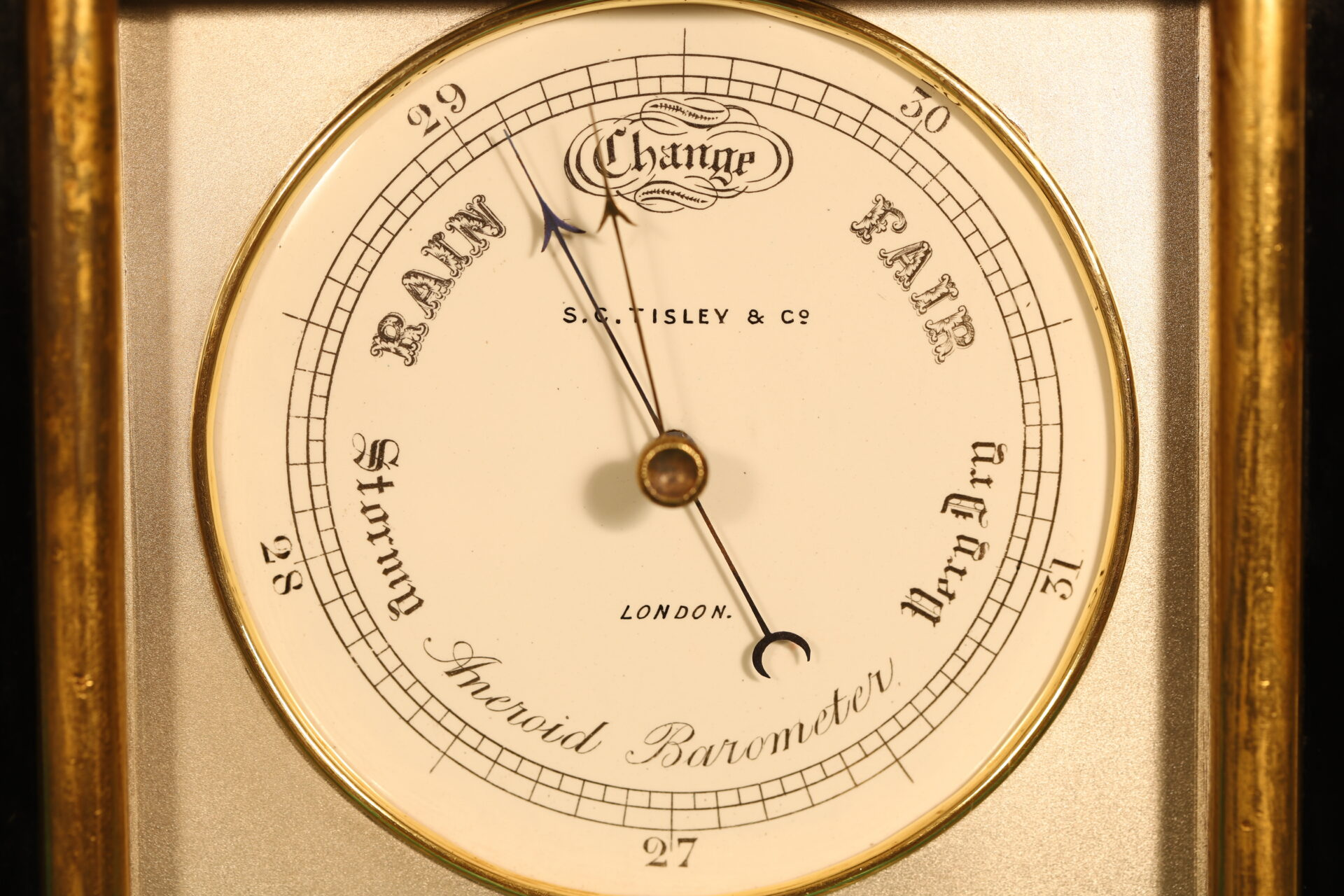Close up of Ebonised Recording Aneroid Barometer or Barograph c1878 showing dial