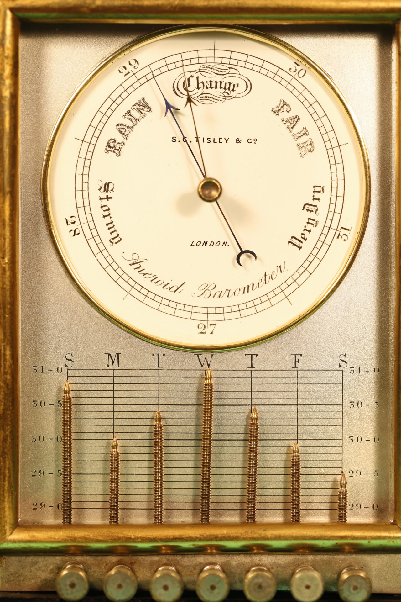 Image of front of Ebonised Recording Aneroid Barometer or Barograph c1878