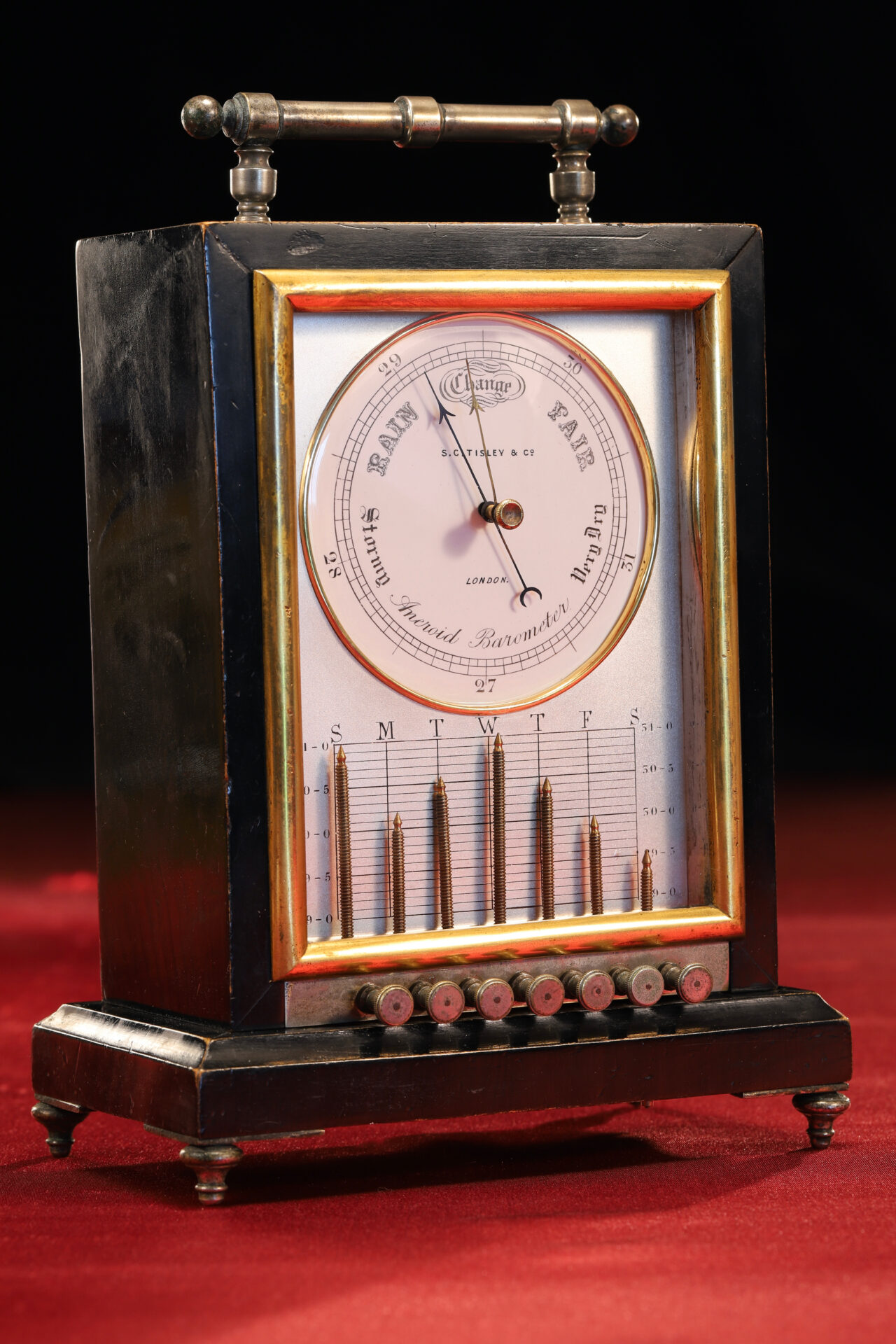 Image of front of Ebonised Recording Aneroid Barometer or Barograph c1878 taken from lefthand side