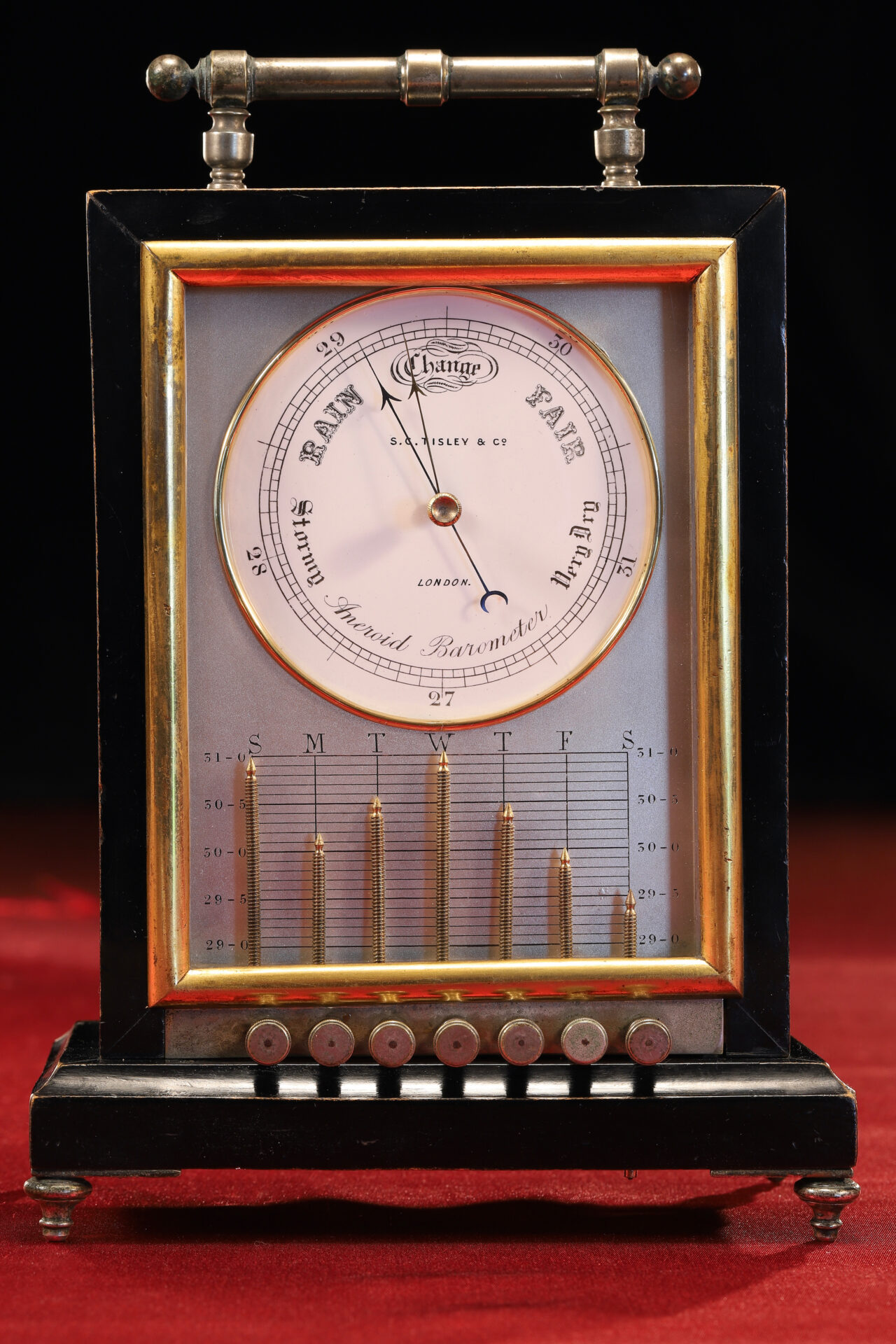 Image of Ebonised Recording Aneroid Barometer or Barograph c1878 taken from front