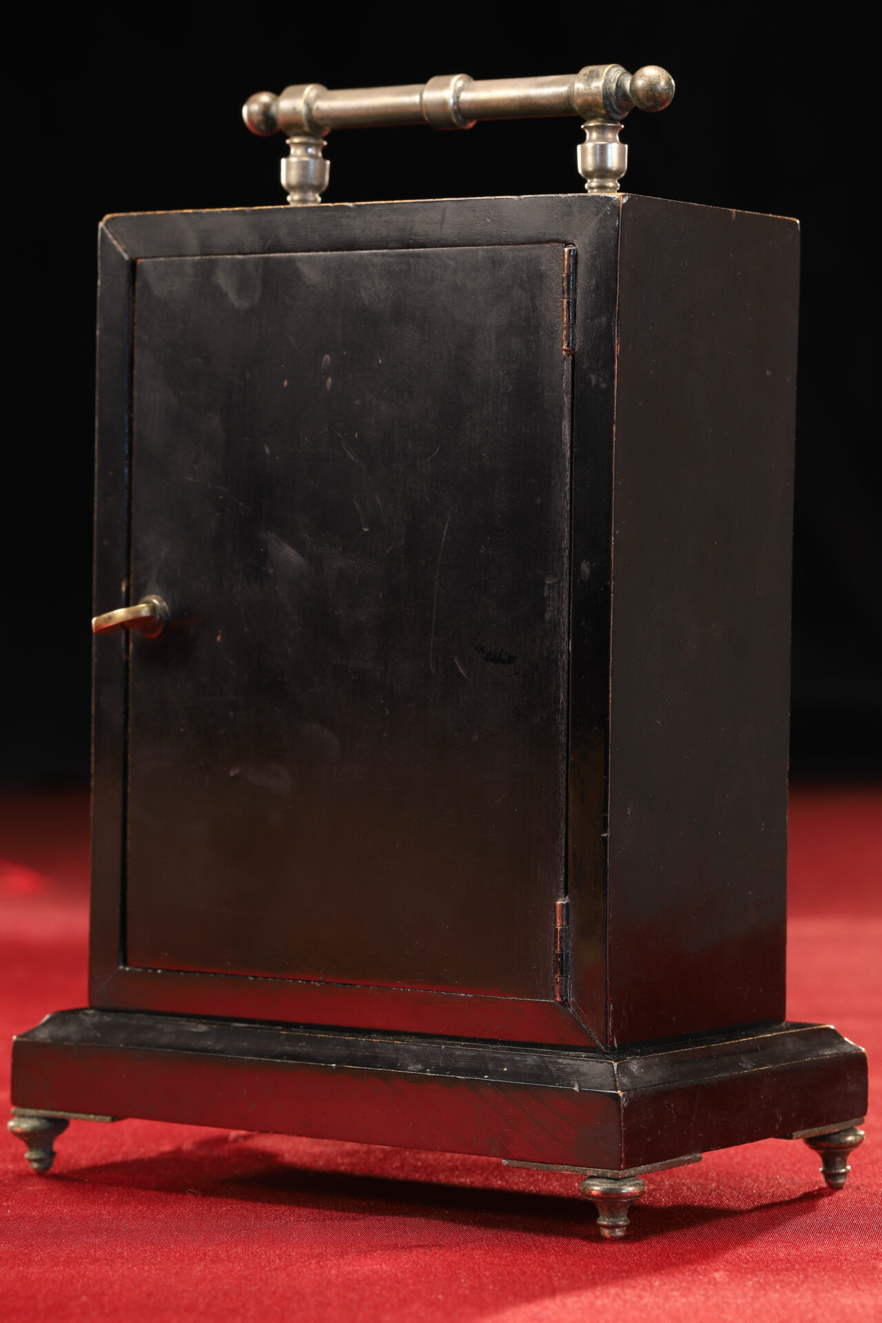 Image of reverse of Ebonised Recording Aneroid Barometer or Barograph c1878 taken from righthand side