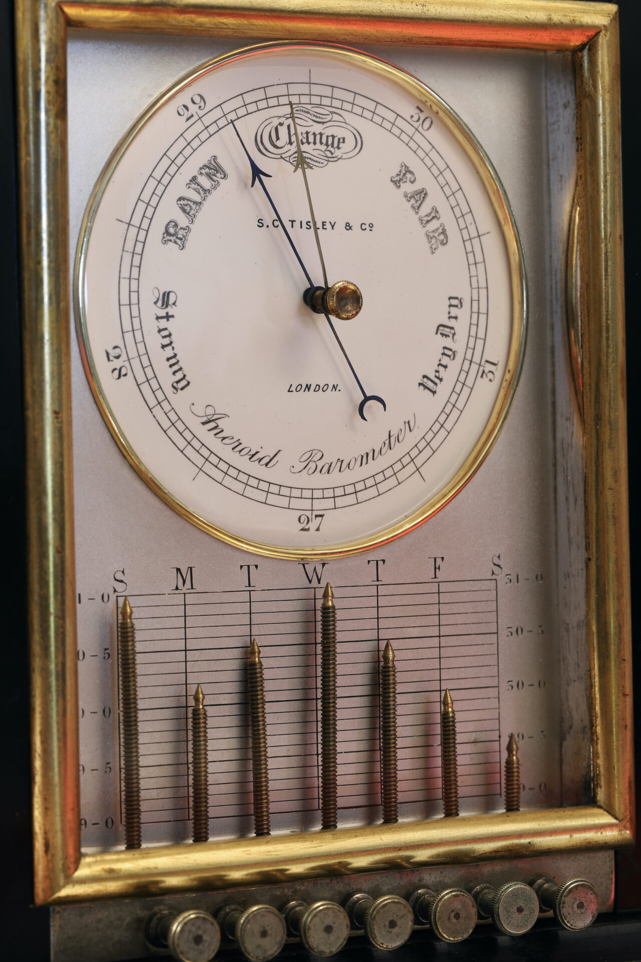 Close up of Ebonised Recording Aneroid Barometer or Barograph c1878 taken from lefthand side