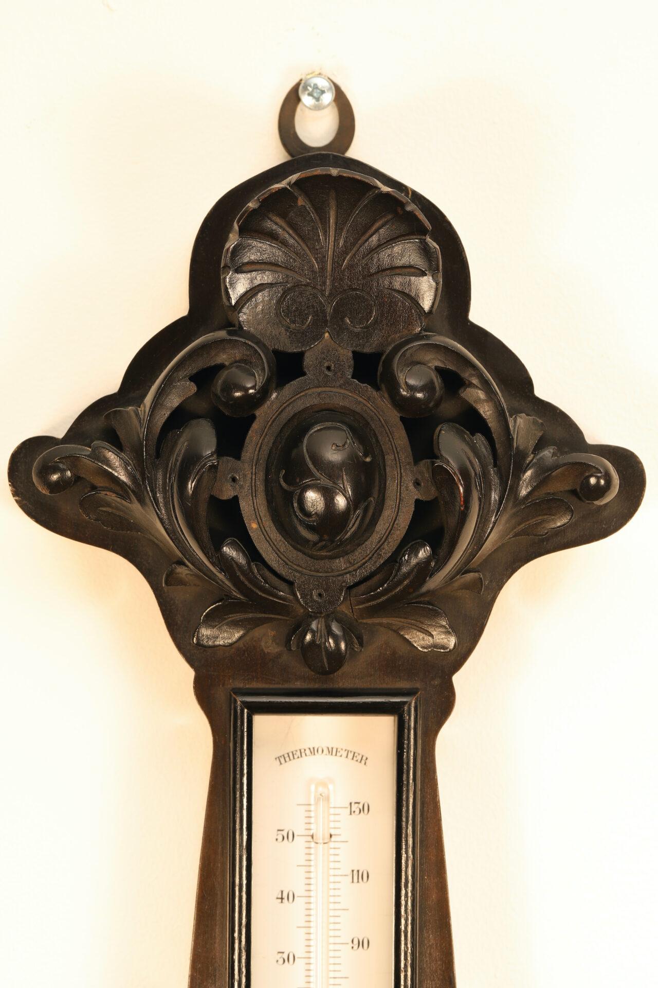 Top of ebonised carved surround for Jules Richard Bourdon Barometer No 45028 c1900