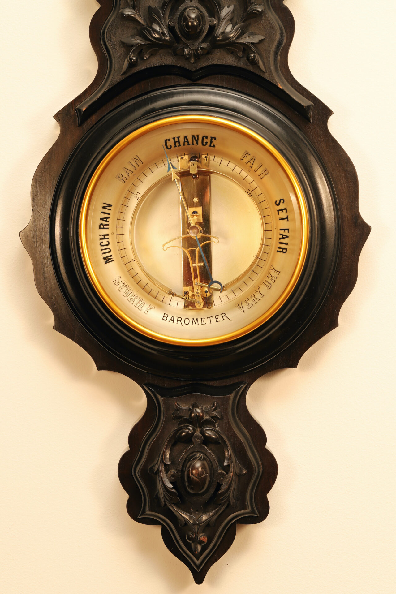 Image of dial and lower part of carved surround from Jules Richard Bourdon Barometer No 45028 c1900
