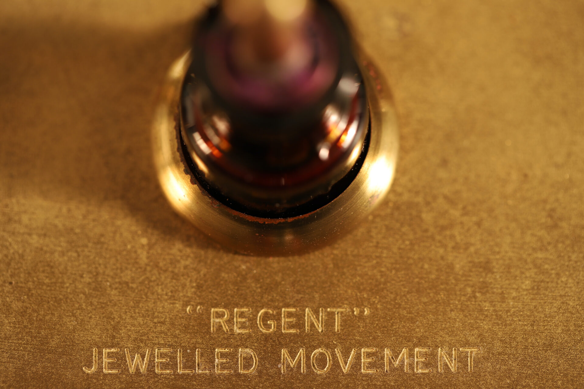 Close up of Regent Jewelled Movement descriptor from Negretti & Zambra Regent Barograph R20637 c1930