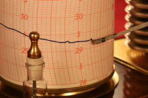 Close up of trace for Short & Mason Barograph No L13629 c1930 from early on 8 Sept 2021 showing weather front coming through