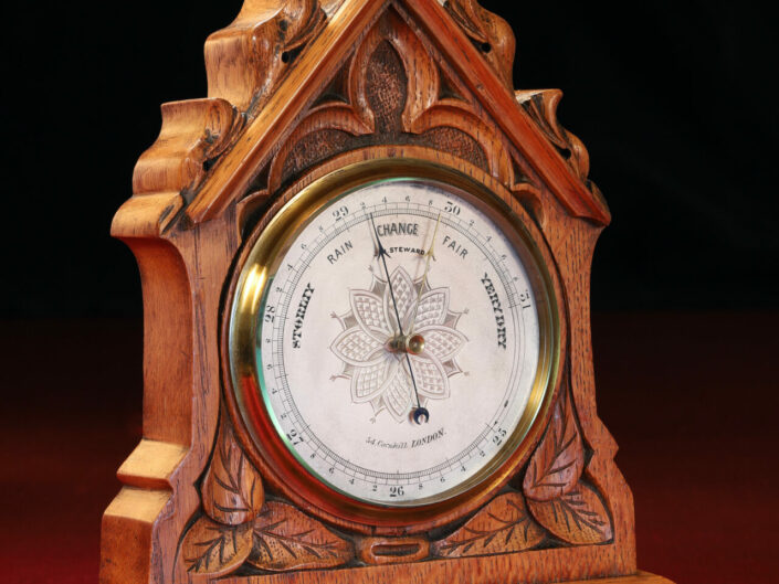 ANTIQUE FRENCH TABLE OR MANTLE ANEROID BAROMETER BY JH STEWARD c1880