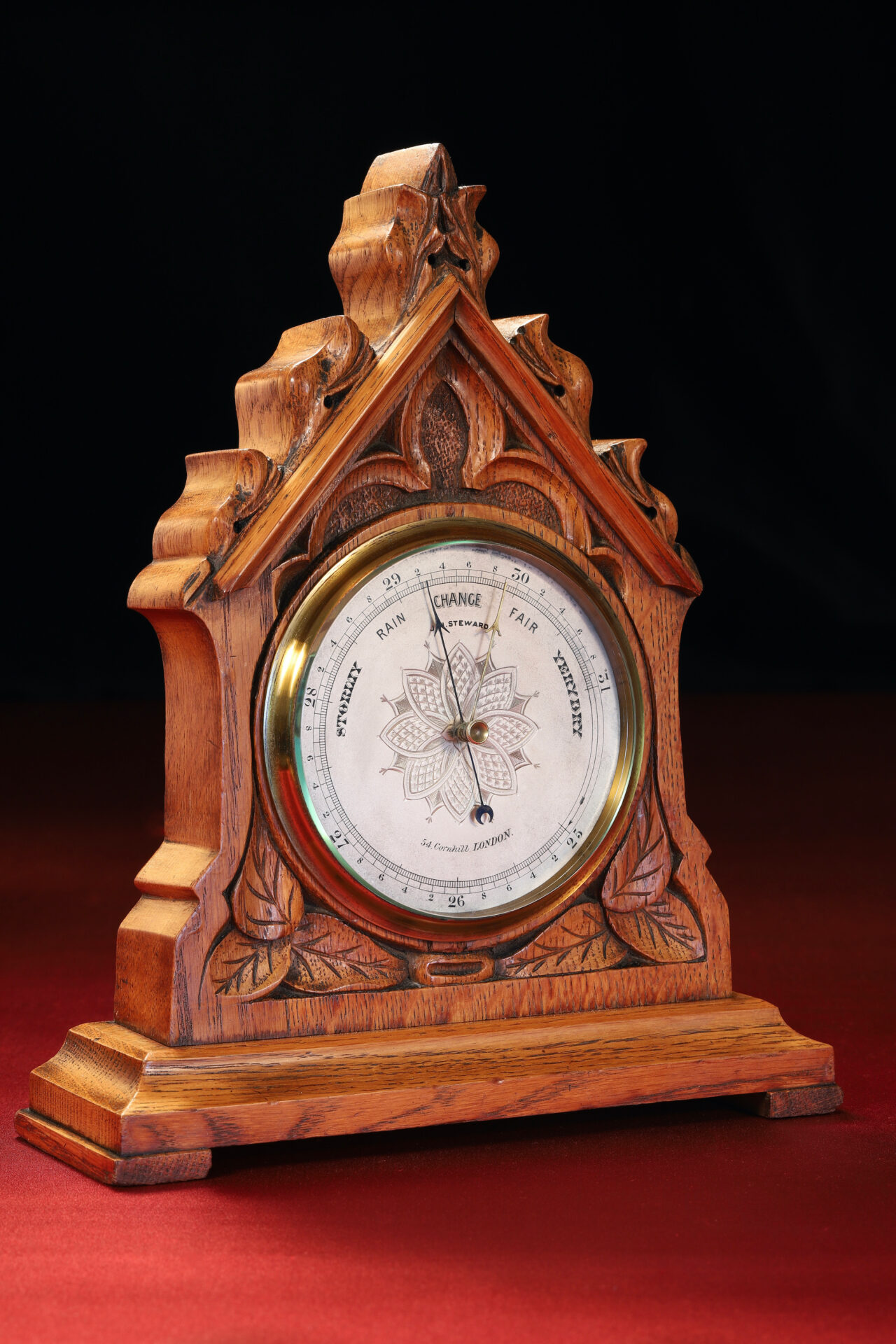 Image of JH Steward Gothic Mantle Barometer c1880 taken from lefthand side