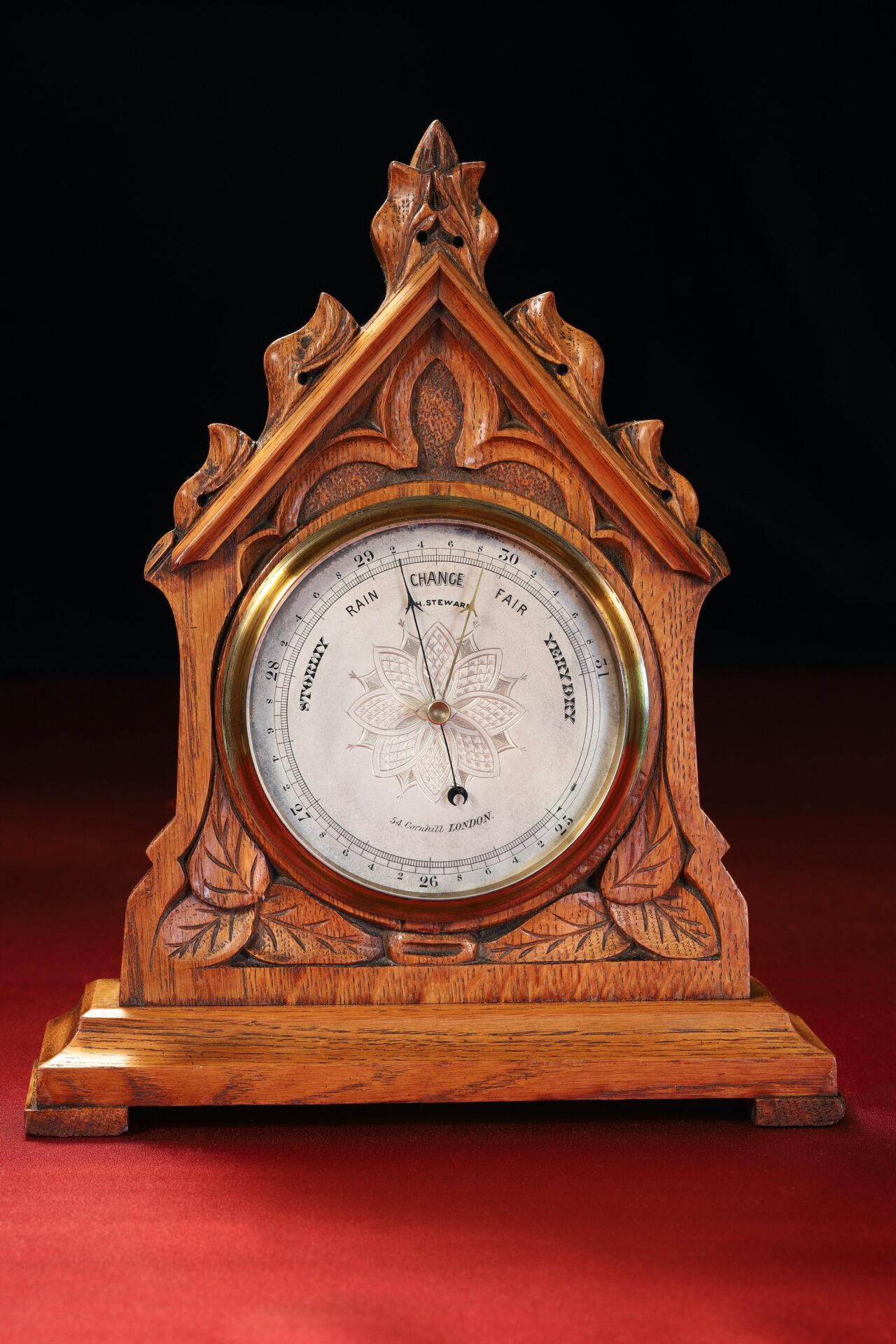 Image of JH Steward Gothic Mantle Barometer c1880