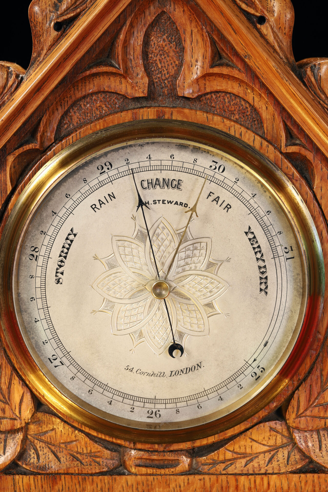 Close up of dial of JH Steward Gothic Mantle Barometer c1880