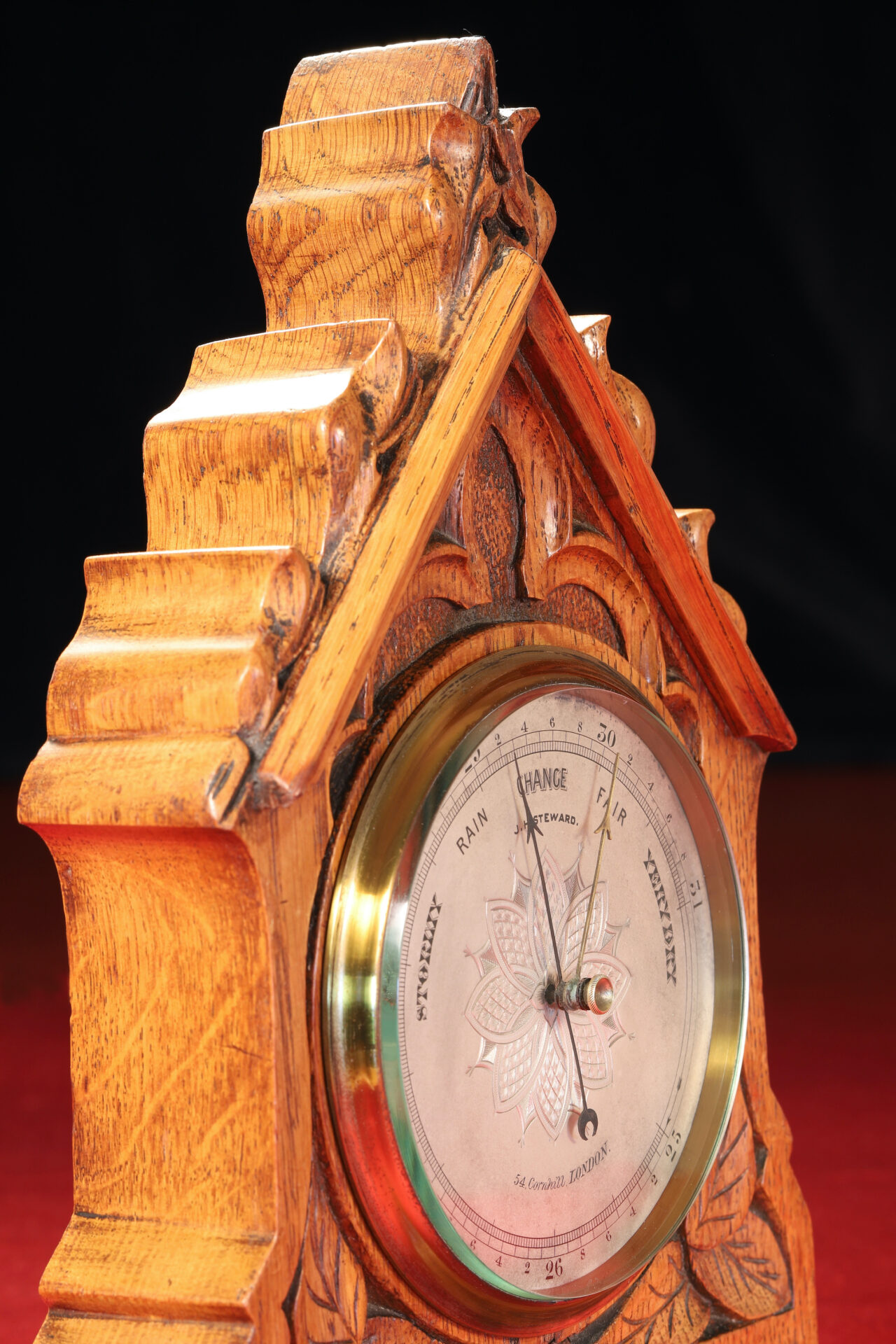 Close up of JH Steward Gothic Mantle Barometer c1880 taken from lefthand side