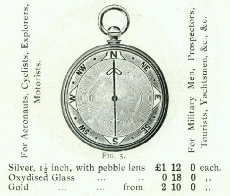 Image of Barker Radiant Transparent Pebble Lens Compass c1910 from early C20th catalogue
