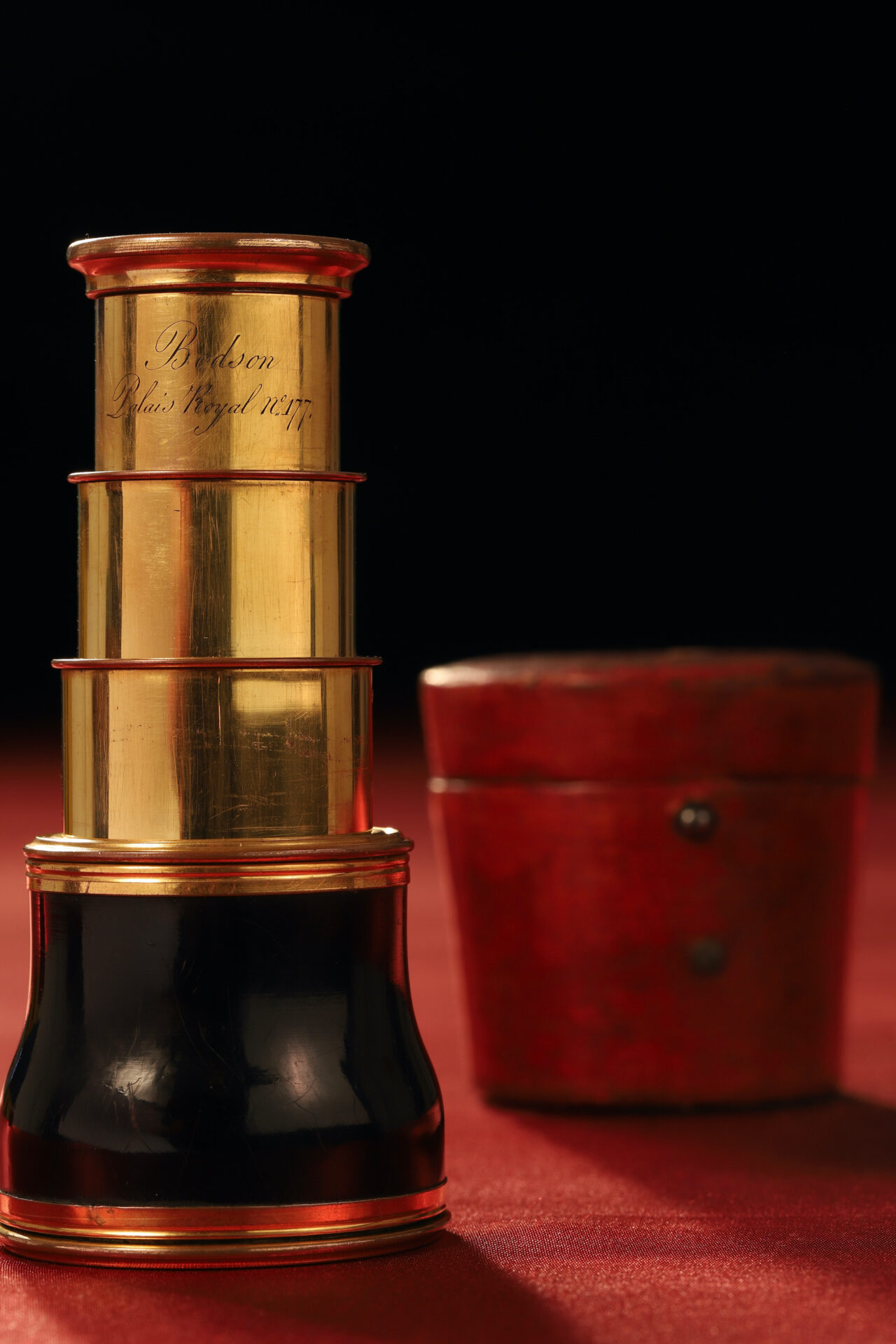 Image of extended Bodson Monocular Spyglass c1825 together with its case
