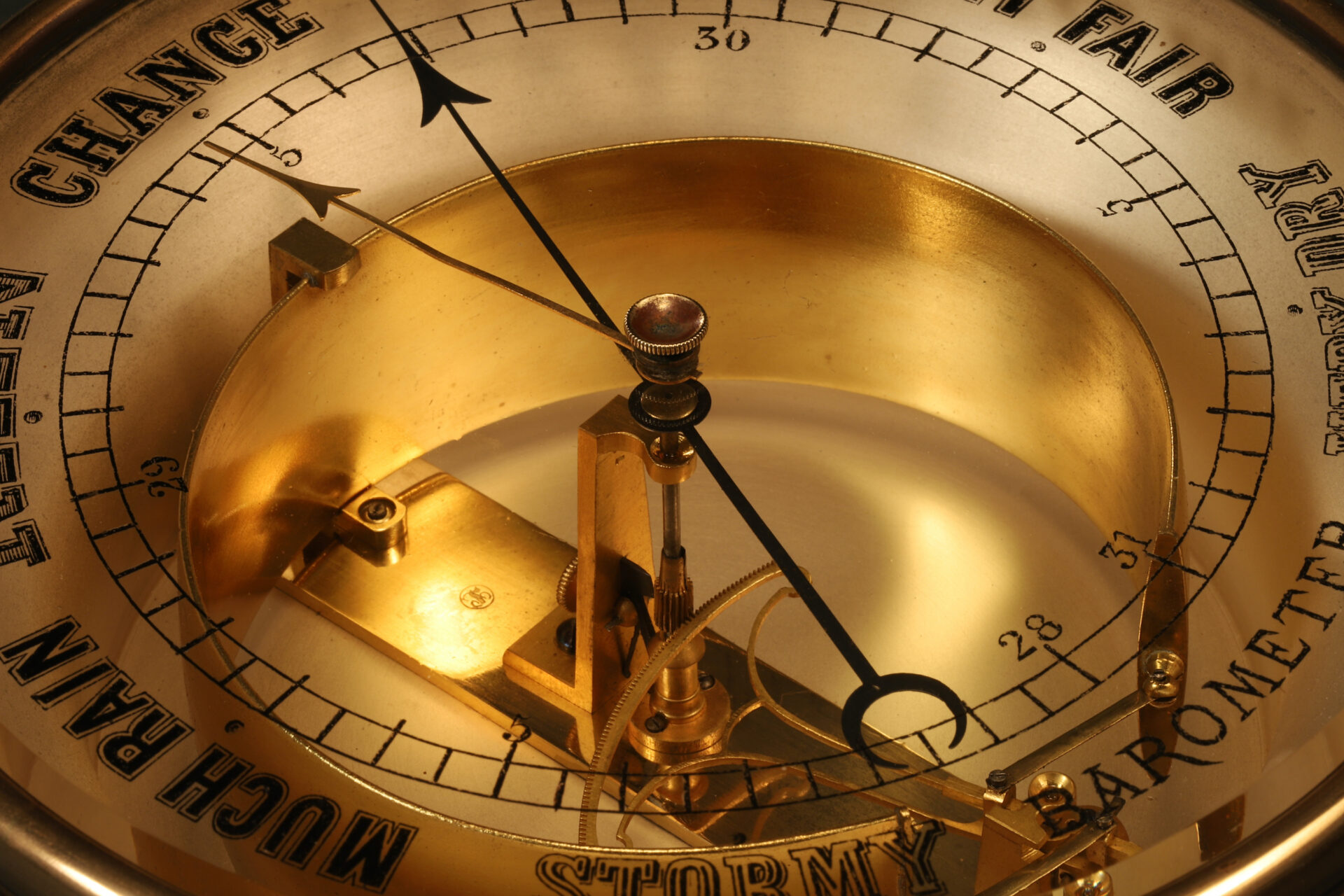 Close up of dial and movement from Bourdon Barometer No 15178 c1880
