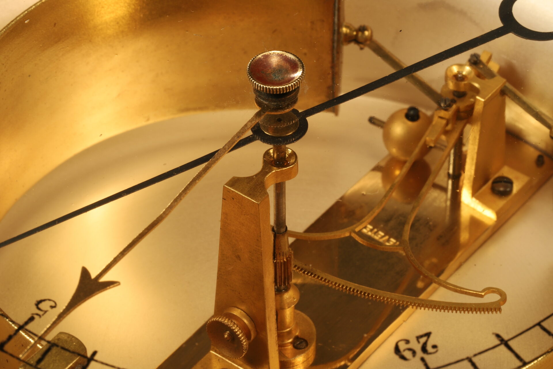 Close up of movement from Bourdon Barometer No 15178 c1880 showing rack and fan
