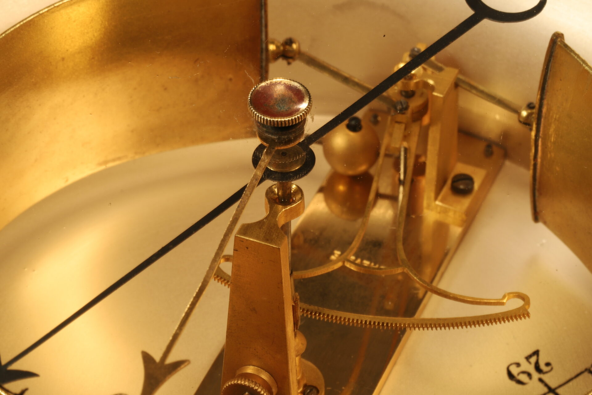 Close up of movement from Bourdon Barometer No 15178 c1880 showing fan