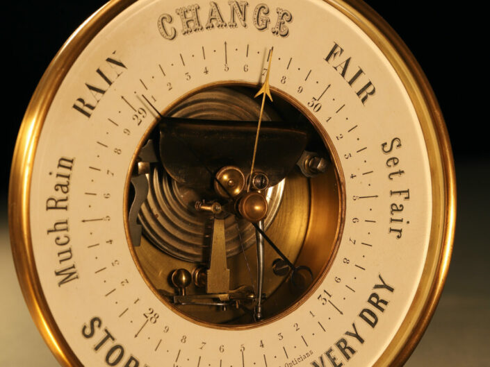 LARGE FRENCH OPEN DIAL BAROMETER BY NAUDET c1880