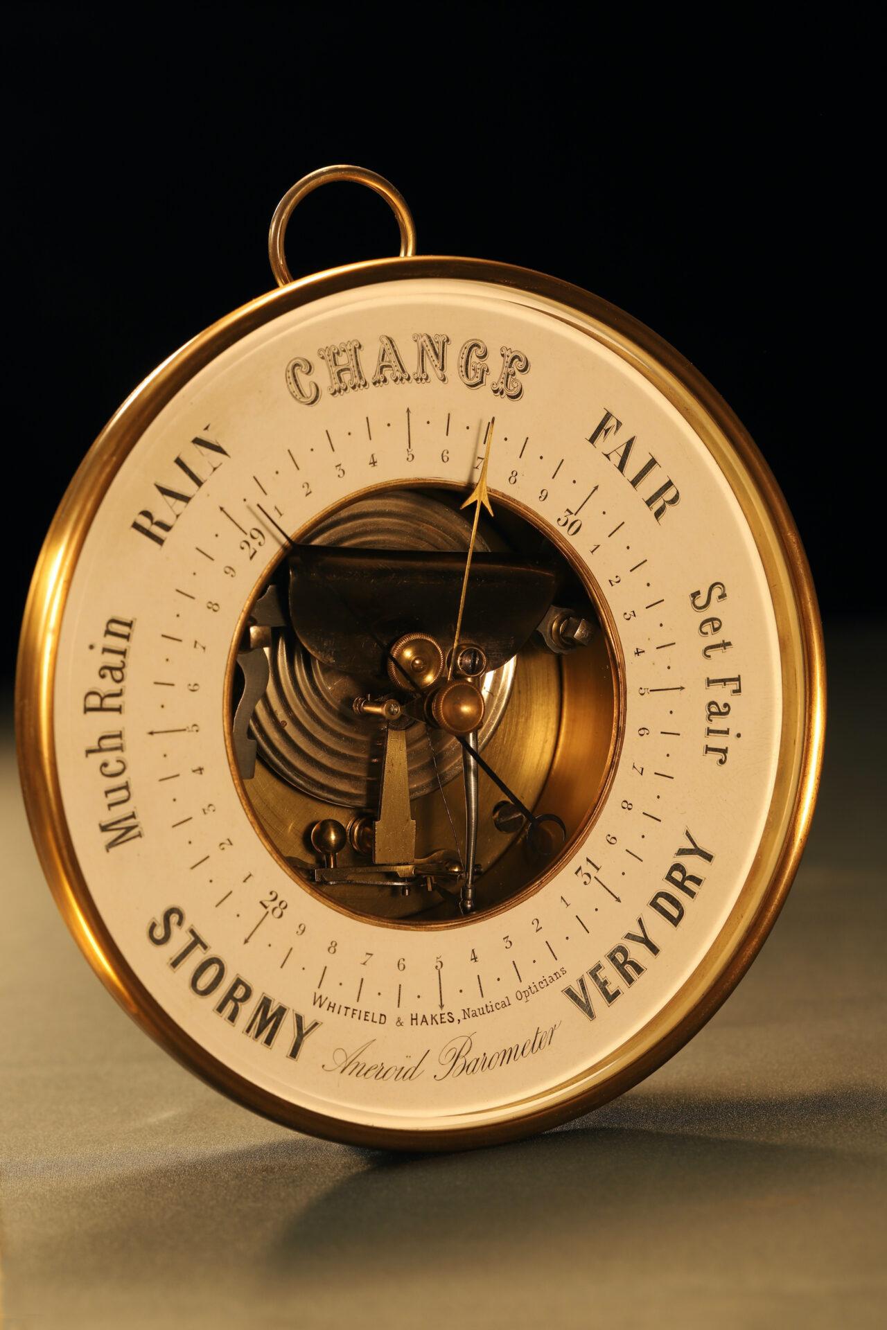 Image of Naudet Open Dial Barometer c1890 taken from lefthand side