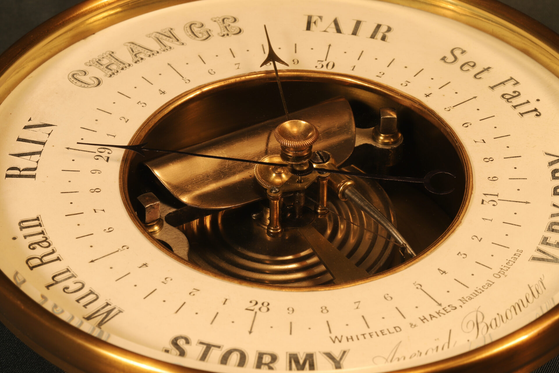 Close up of dial from Naudet Open Dial Barometer c1890