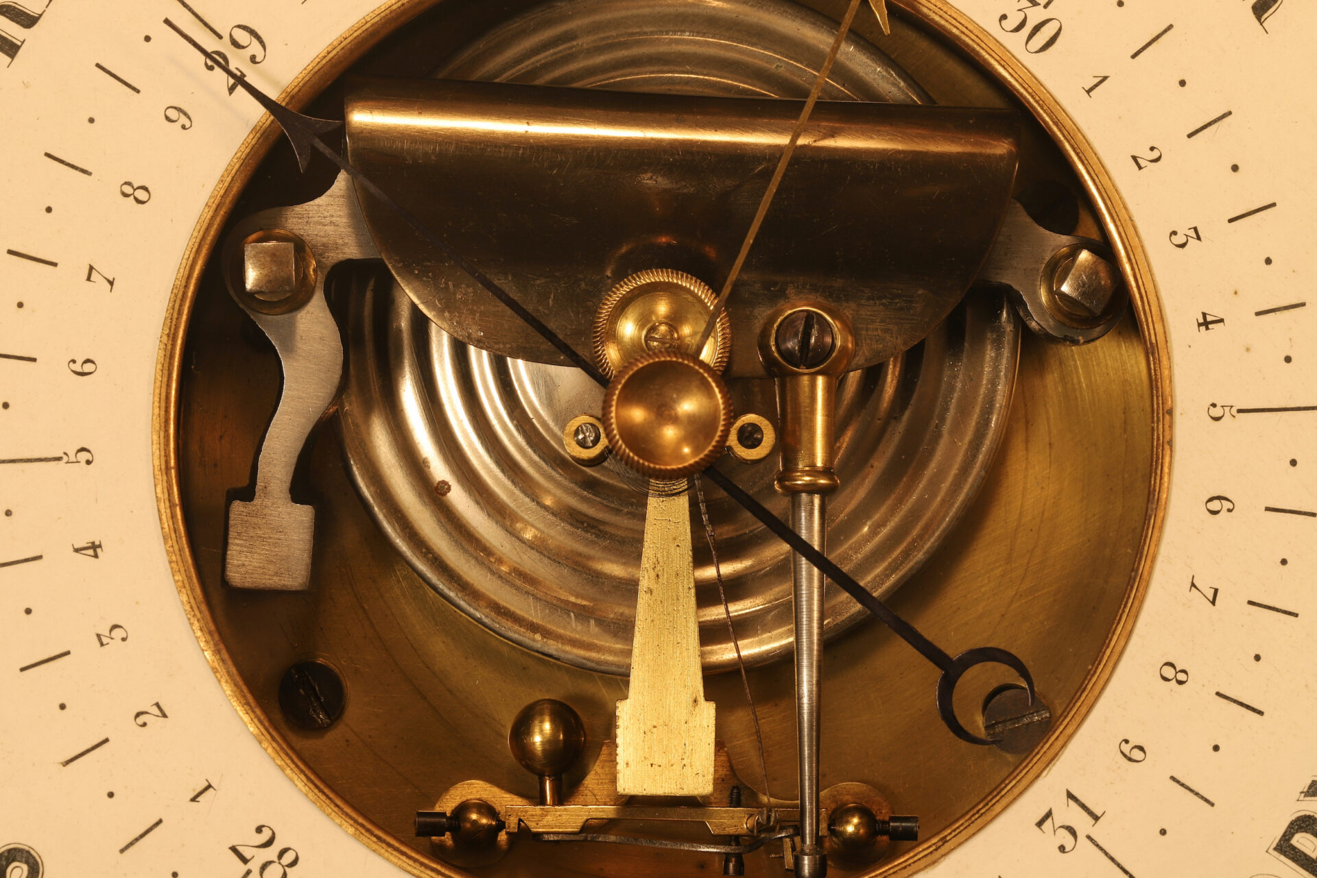 Close up of movement from Naudet Open Dial Barometer c1890