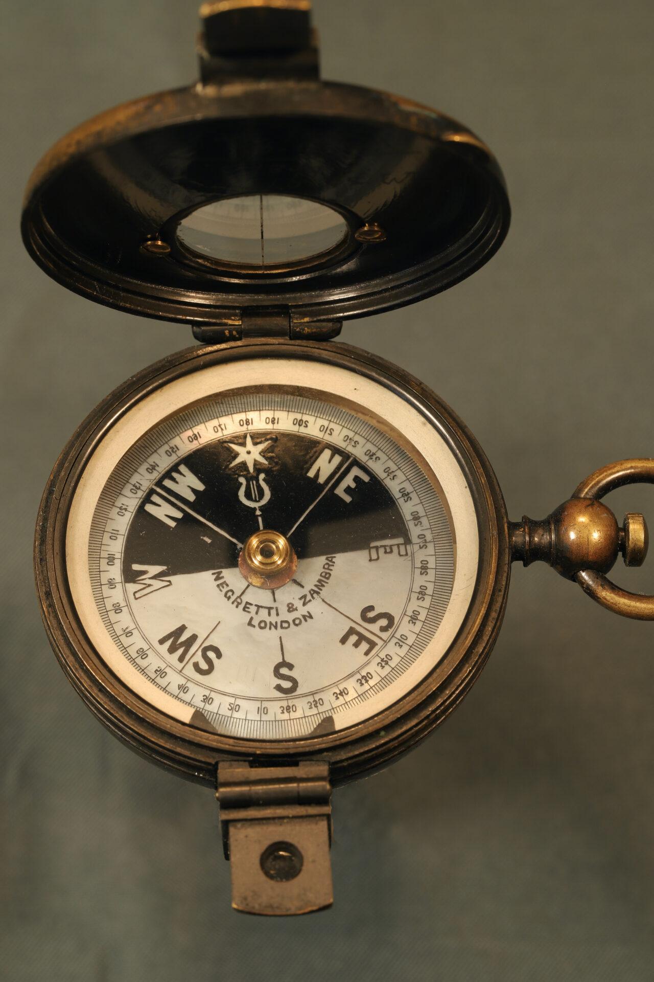 Image of open Negretti & Zambra Prismatic Compass c1895