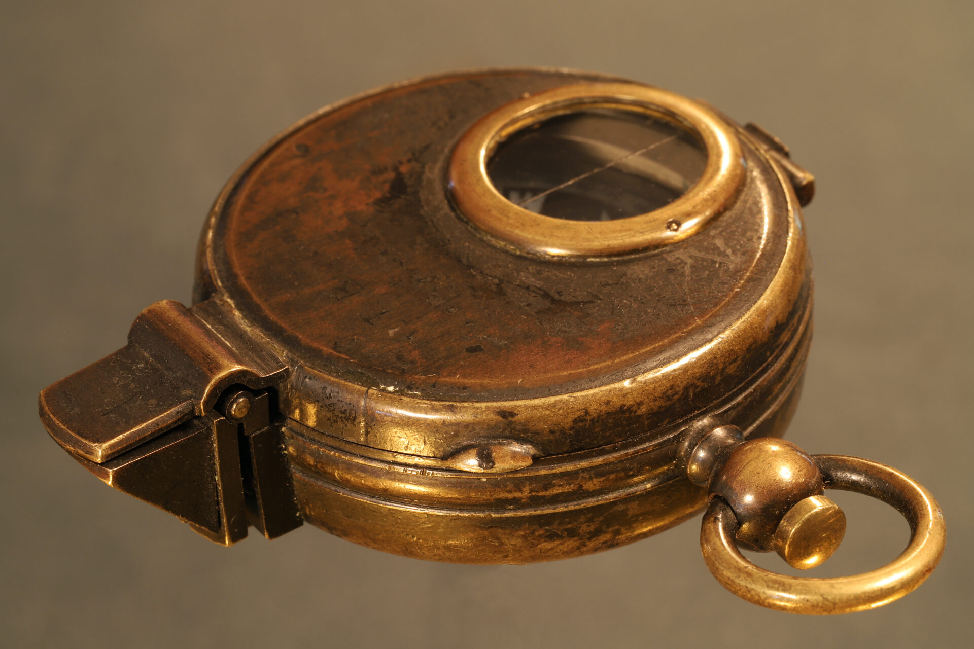 Image of closed Negretti & Zambra Prismatic Compass c1895 taken from righthand side