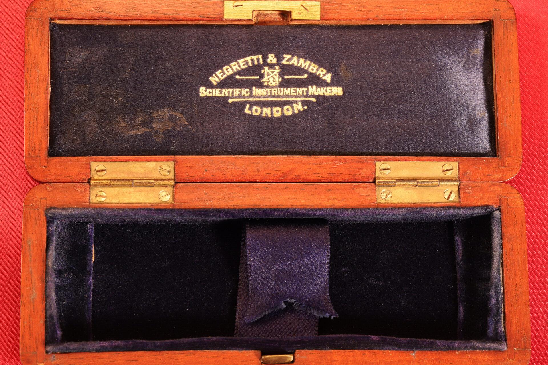 Image of open travel case for Negretti & Zambra Scientific Thermometers c1915