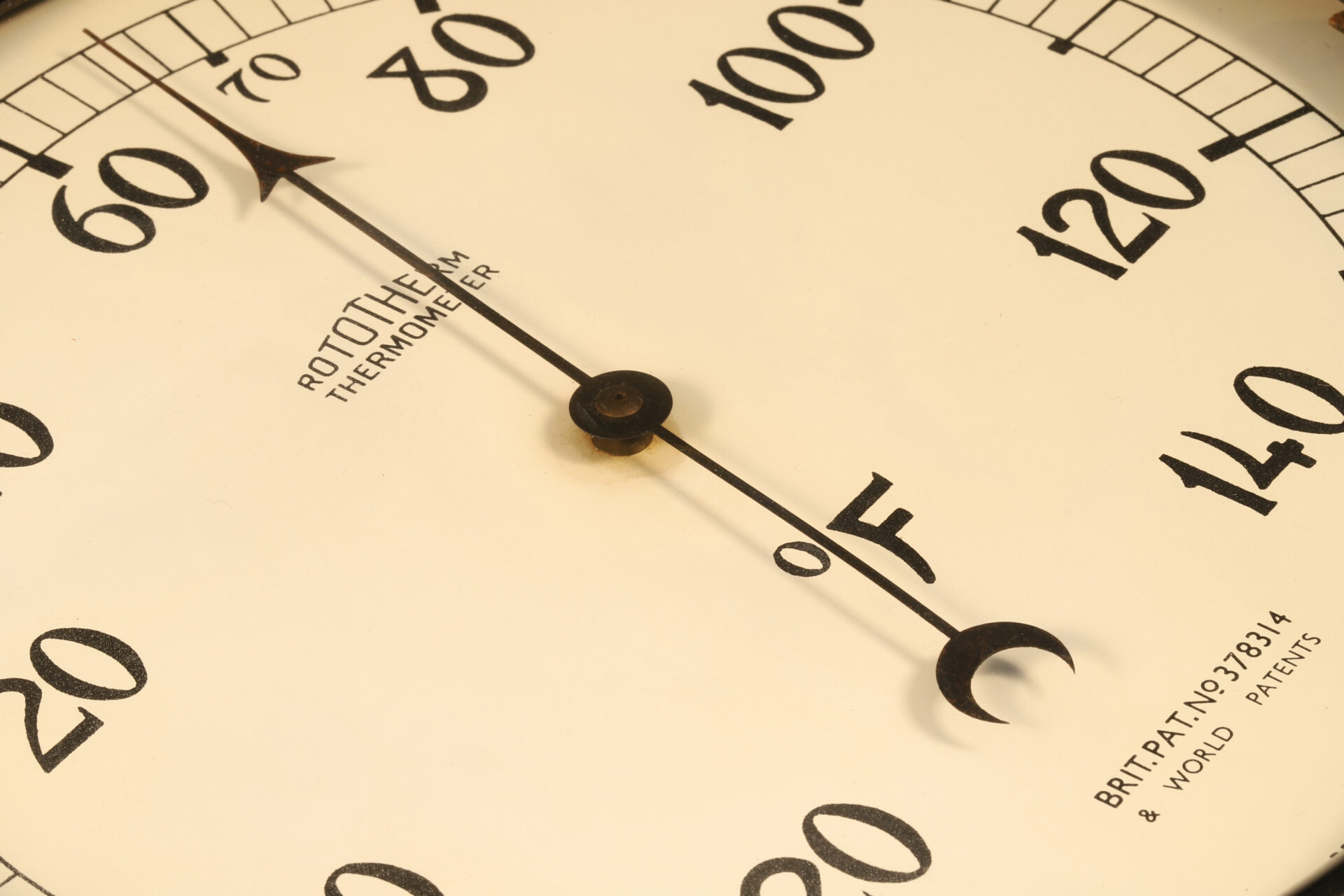Close up of dial of Rototherm Thermometer c1932