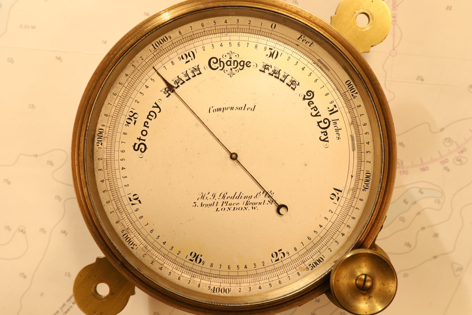 Image of Short & Mason Chart Table Barometer c1906 taken from front