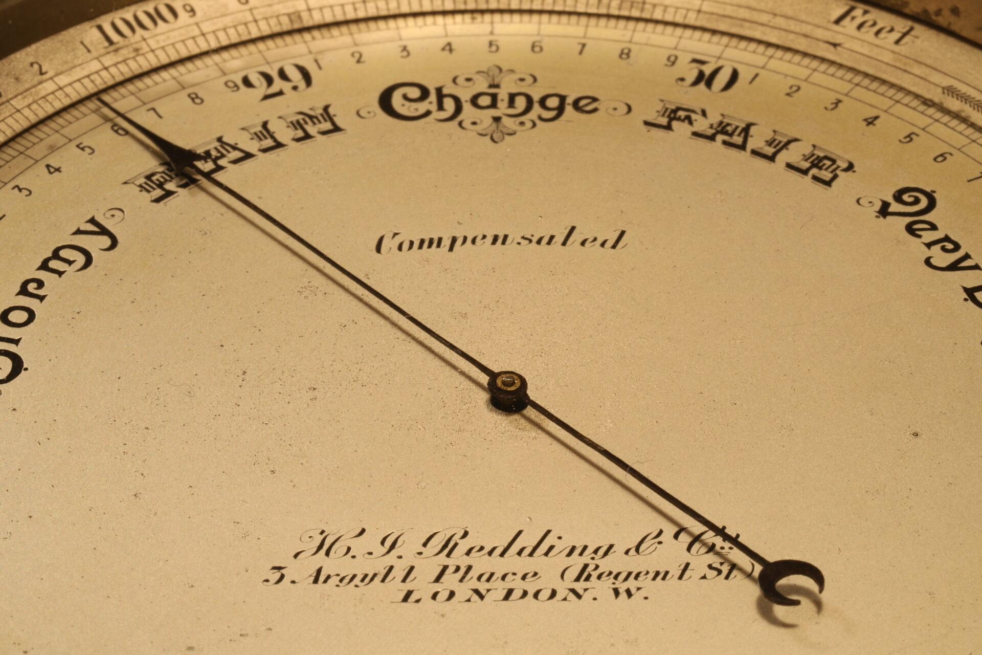 Close up of dial of Short & Mason Chart Table Barometer c1906