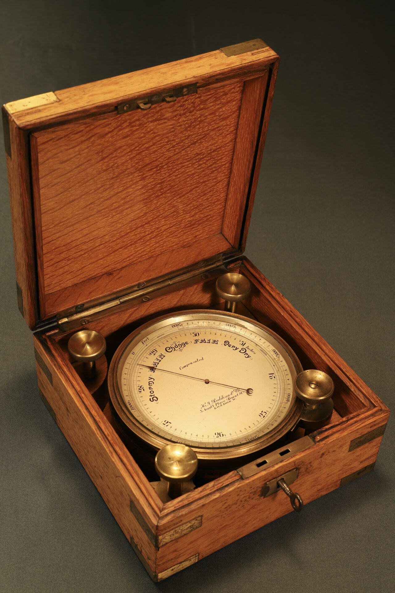 Image of open case from Short & Mason Chart Table Barometer c1906 showing barometer