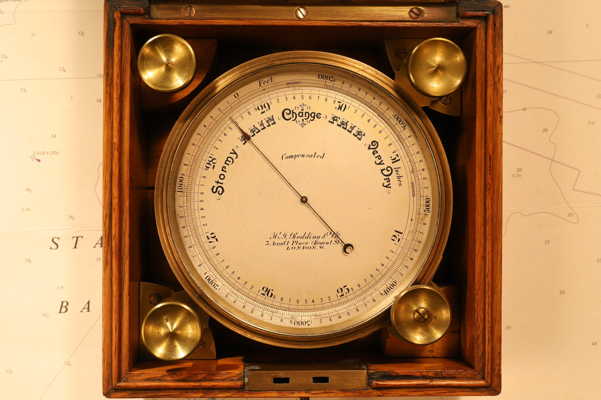 Image of Short & Mason Chart Table Barometer c1906 in open case on chart
