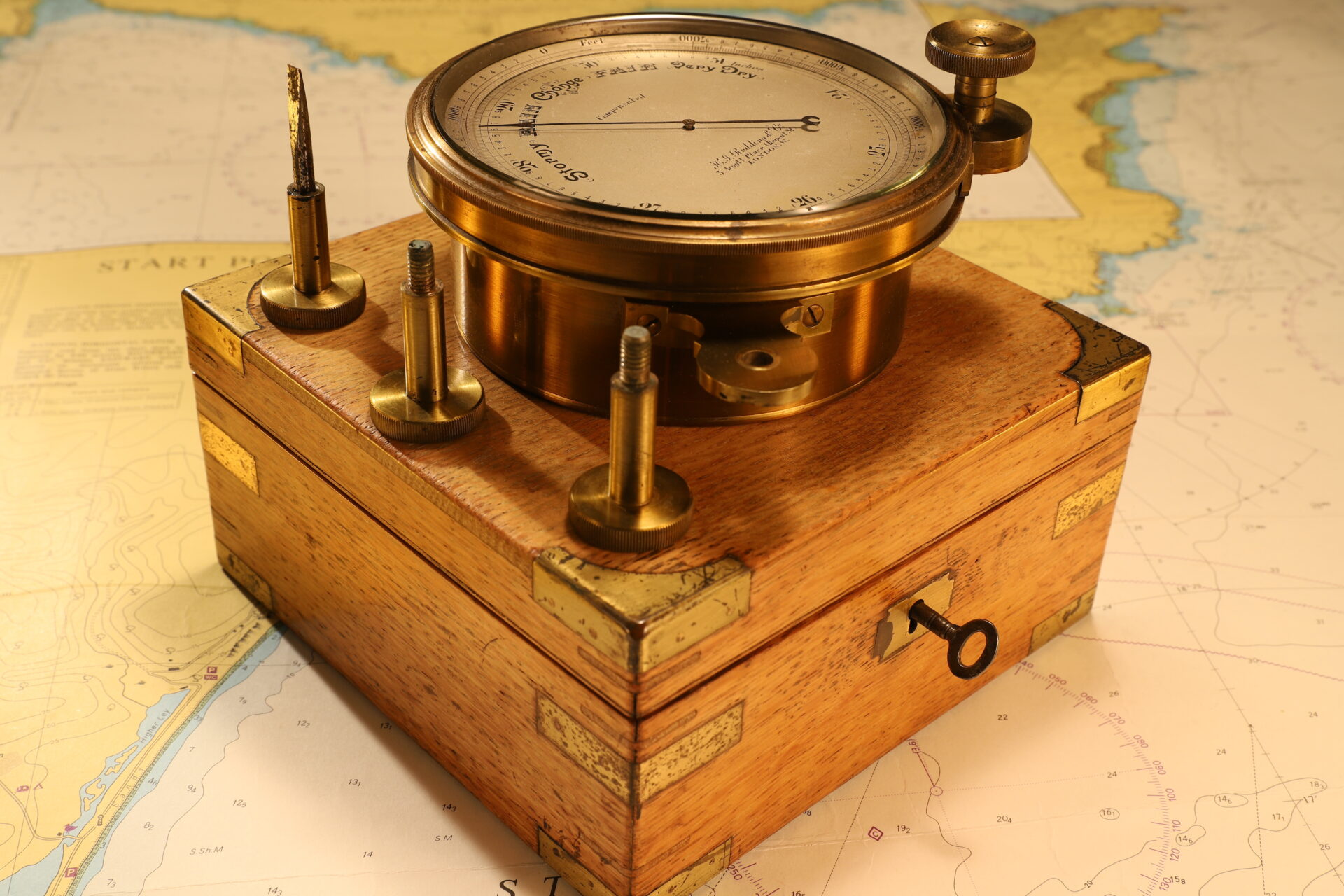 Image of Short & Mason Chart Table Barometer c1906 on closed travel case