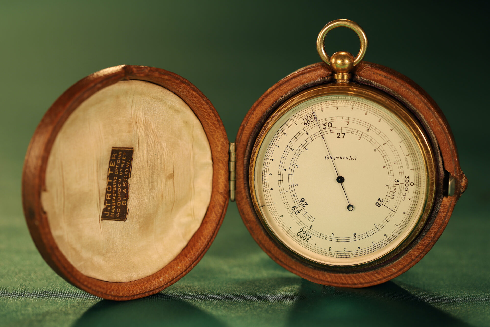 Image of Short & Mason Double Rotation Altimeter c1910 in open travel case