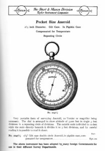 Image of Short & Mason Double Rotation Pocket Barometer Altimeter in 1909 Catalogue