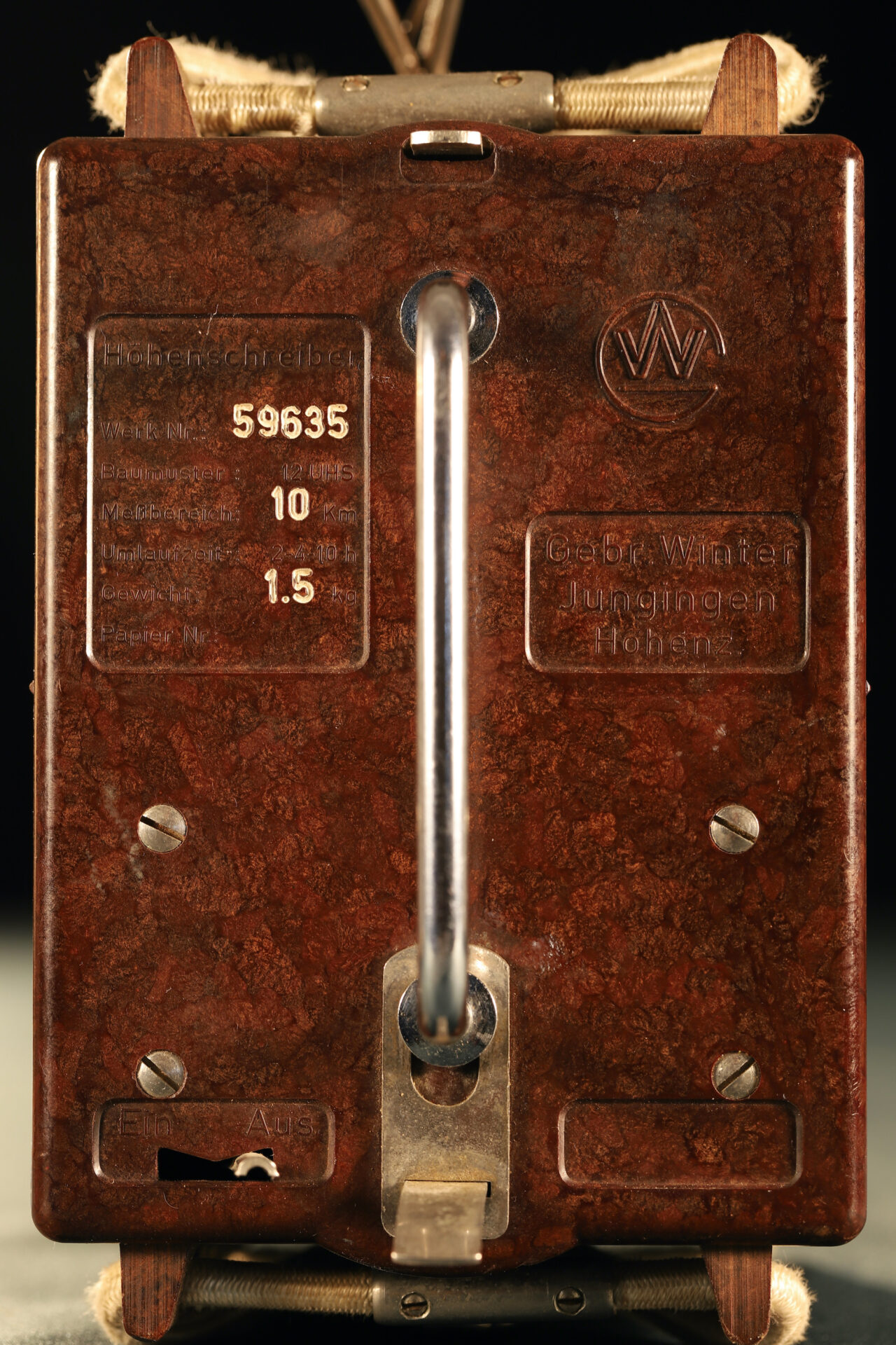 Image of end plate for Winter Height Recorder No 59635 c1930